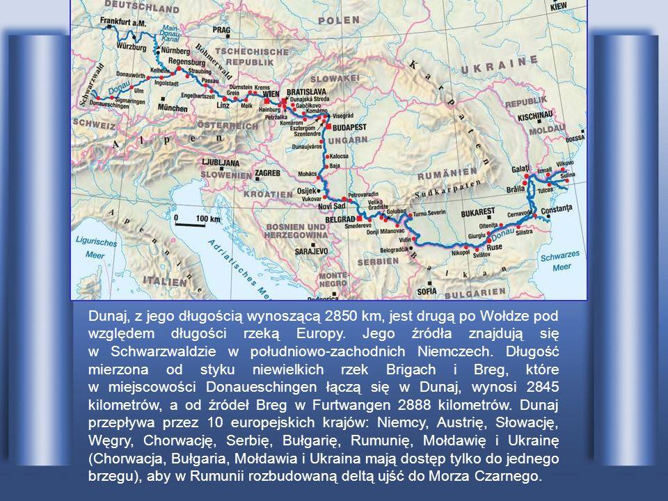 Dunaj, z jego długością wynoszącą 2850 km, jest drugą po Wołdze pod względem długości rzeką Europy.