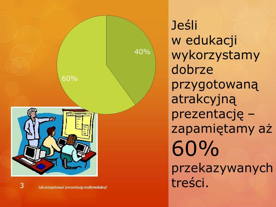 Jeśli w edukacji wykorzystamy dobrze przygotowaną atrakcyjną prezentację –zapamiętamy aż 60% przekazywanych treści.