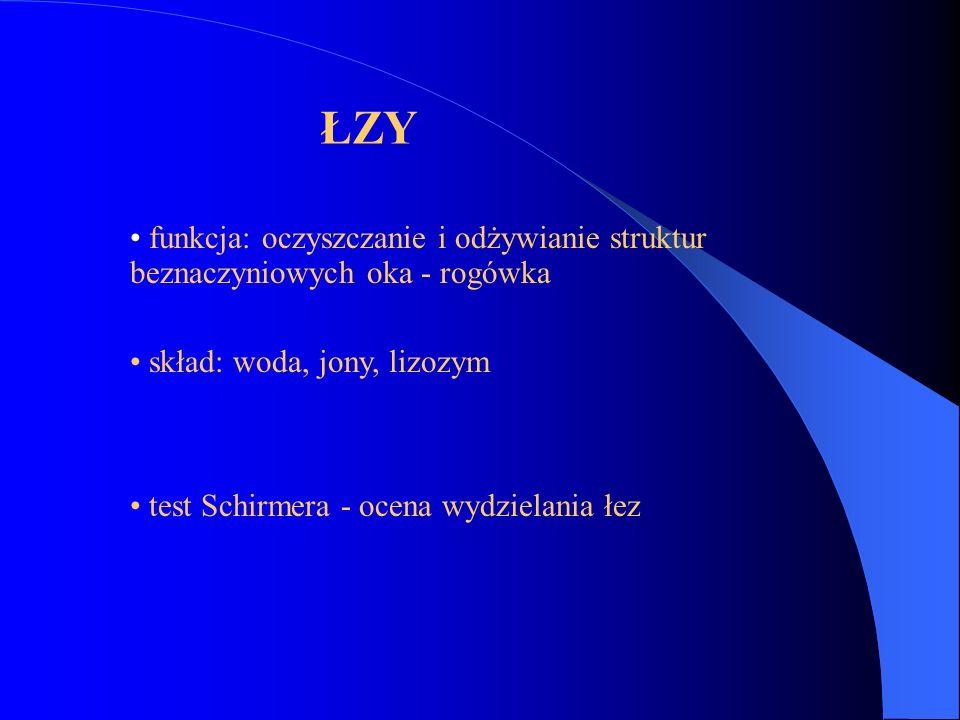 ŁZY funkcja: oczyszczanie i odżywianie struktur beznaczyniowych oka - rogówka. skład: woda, jony, lizozym.
