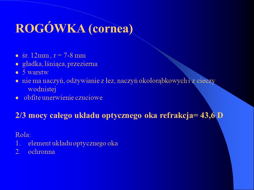 ROGÓWKA (cornea) · śr. 12mm , r = 7-8 mm. · gładka, lśniąca, przezierna. · 5 warstw.