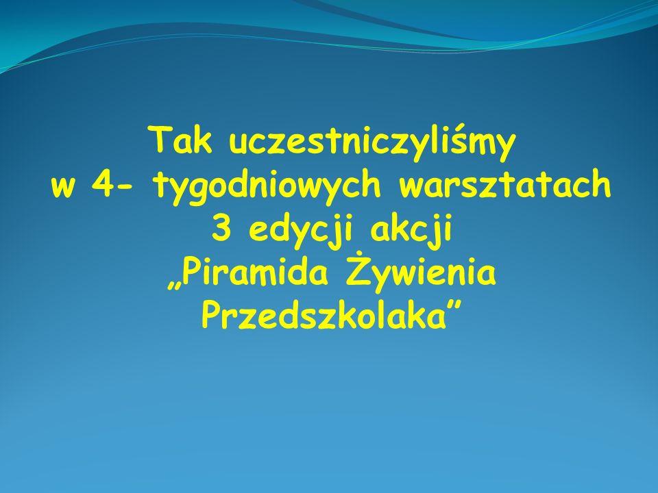 """Tak uczestniczyliśmy w 4- tygodniowych warsztatach 3 edycji akcji """"Piramida Żywienia Przedszkolaka"""