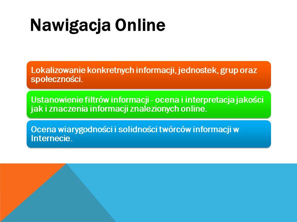 Nawigacja Online Lokalizowanie konkretnych informacji, jednostek, grup oraz społeczności.