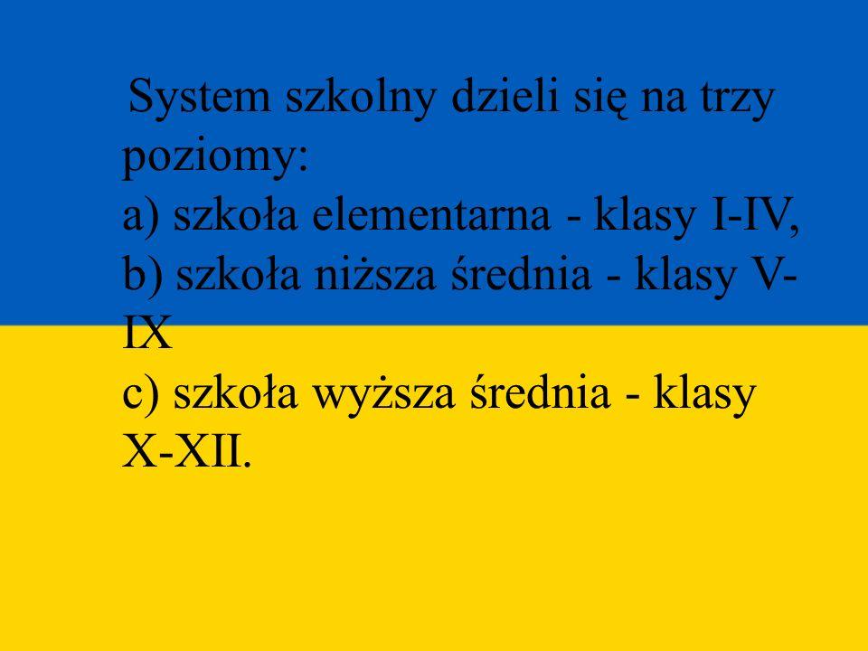 System szkolny dzieli się na trzy poziomy: a) szkoła elementarna - klasy I-IV, b) szkoła niższa średnia - klasy V- IX c) szkoła wyższa średnia - klasy X-XII.