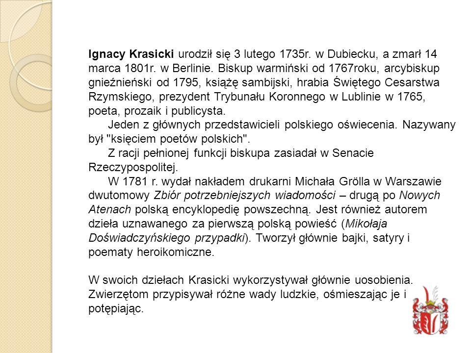 Ignacy Krasicki urodził się 3 lutego 1735r
