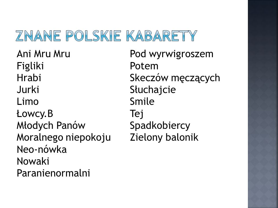 Znane polskie kabarety