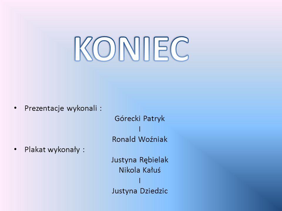 KONIEC Prezentacje wykonali : Górecki Patryk I Ronald Woźniak