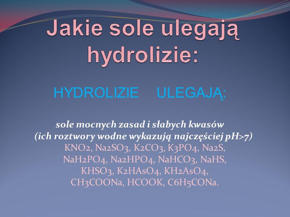 Jakie sole ulegają hydrolizie: