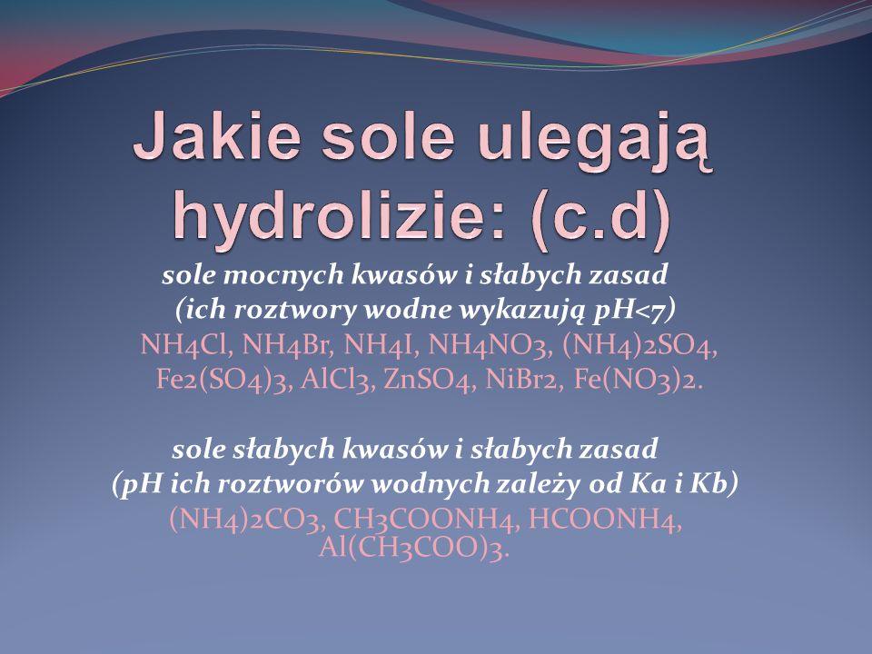 Jakie sole ulegają hydrolizie: (c.d)