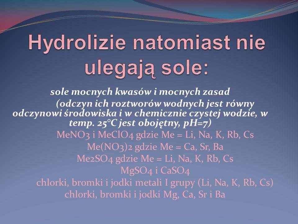 Hydrolizie natomiast nie ulegają sole: