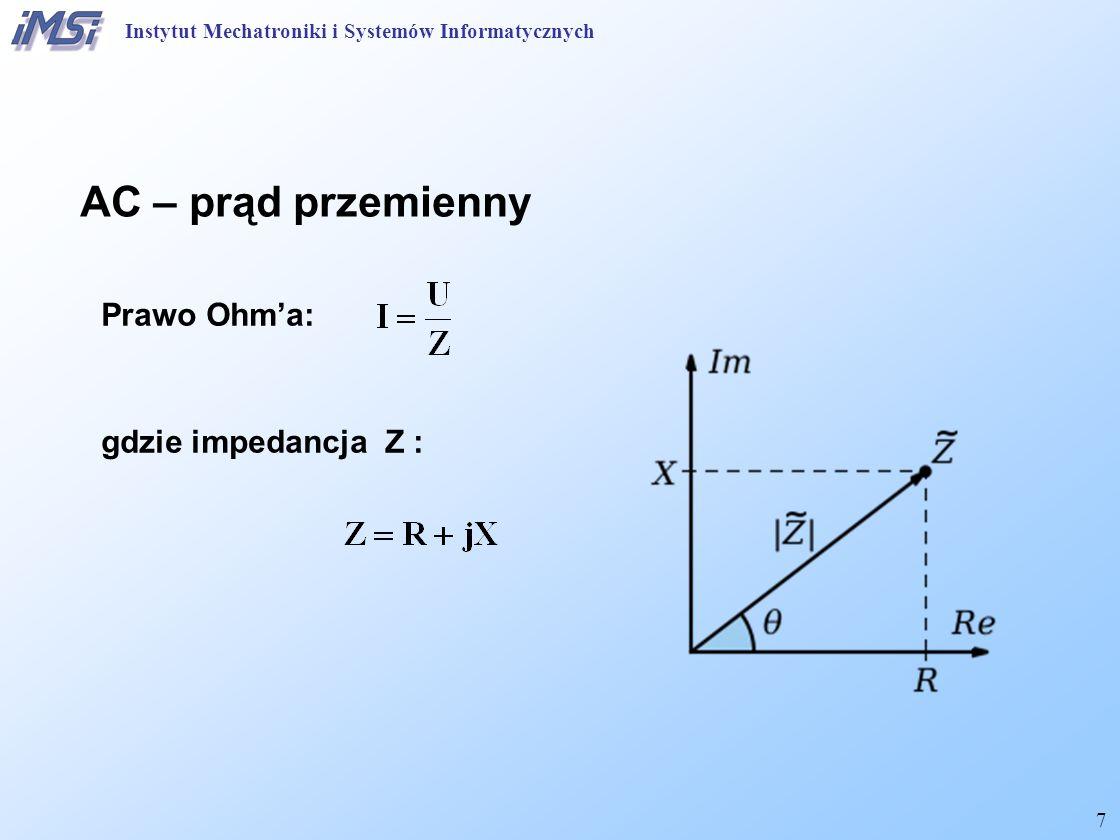 AC – prąd przemienny Prawo Ohm'a: gdzie impedancja Z :