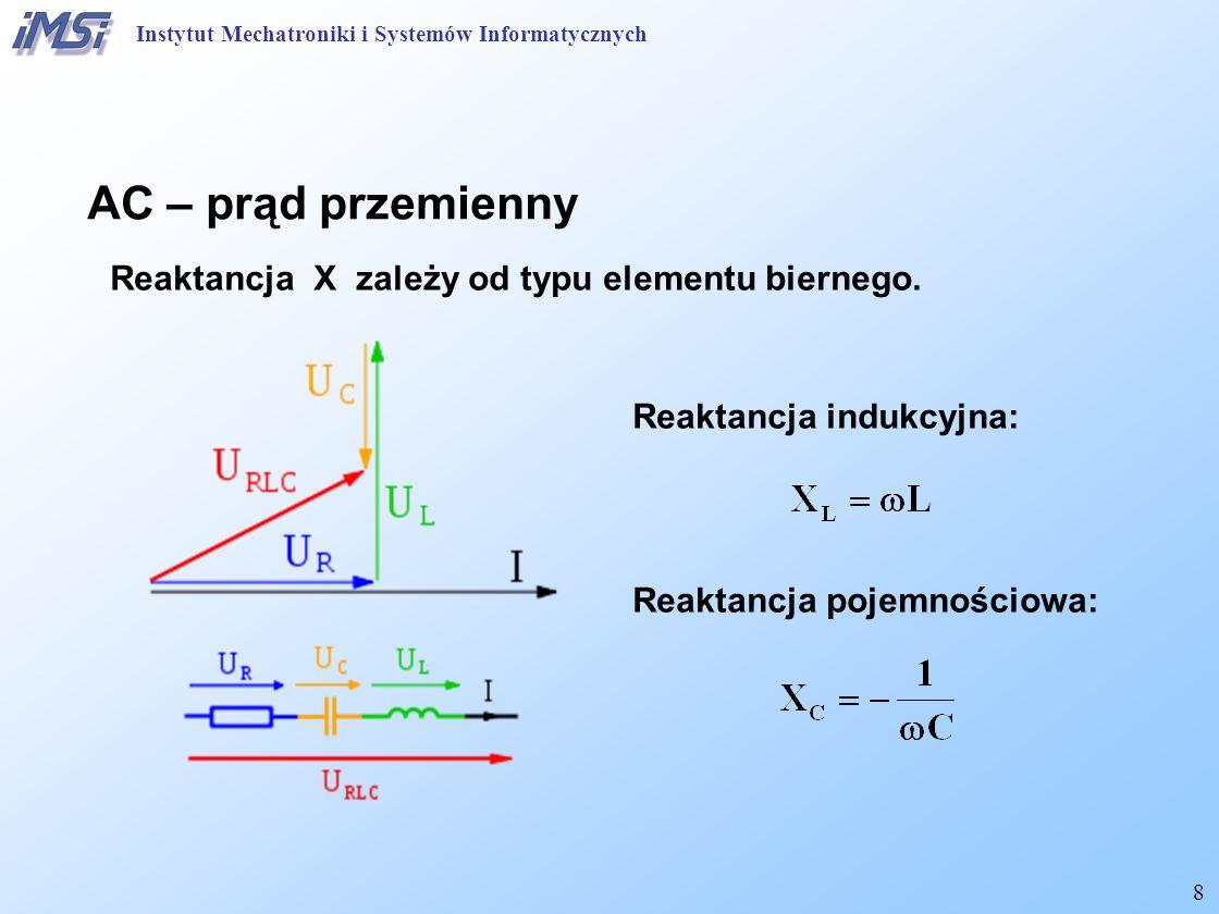 AC – prąd przemienny Reaktancja X zależy od typu elementu biernego.