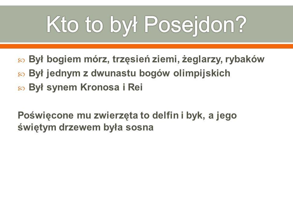 Kto to był Posejdon Był bogiem mórz, trzęsień ziemi, żeglarzy, rybaków. Był jednym z dwunastu bogów olimpijskich.