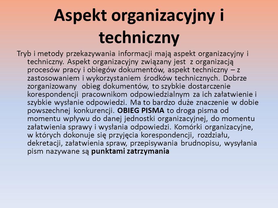 Aspekt organizacyjny i techniczny