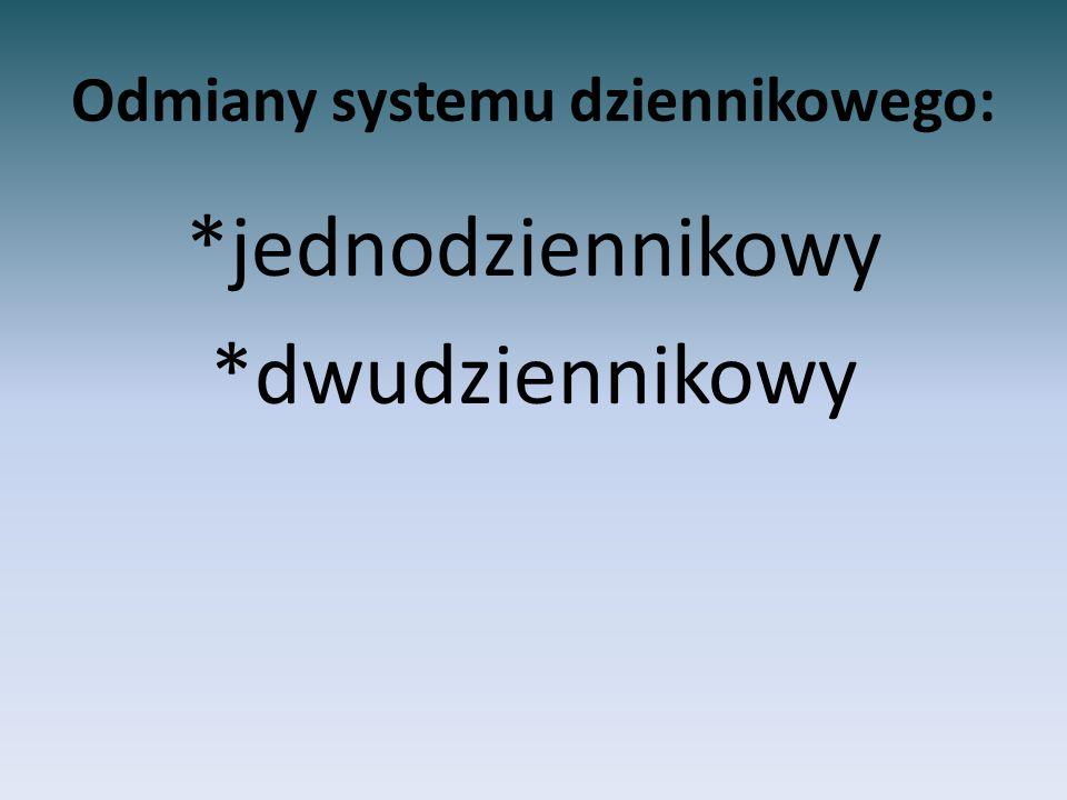 Odmiany systemu dziennikowego: