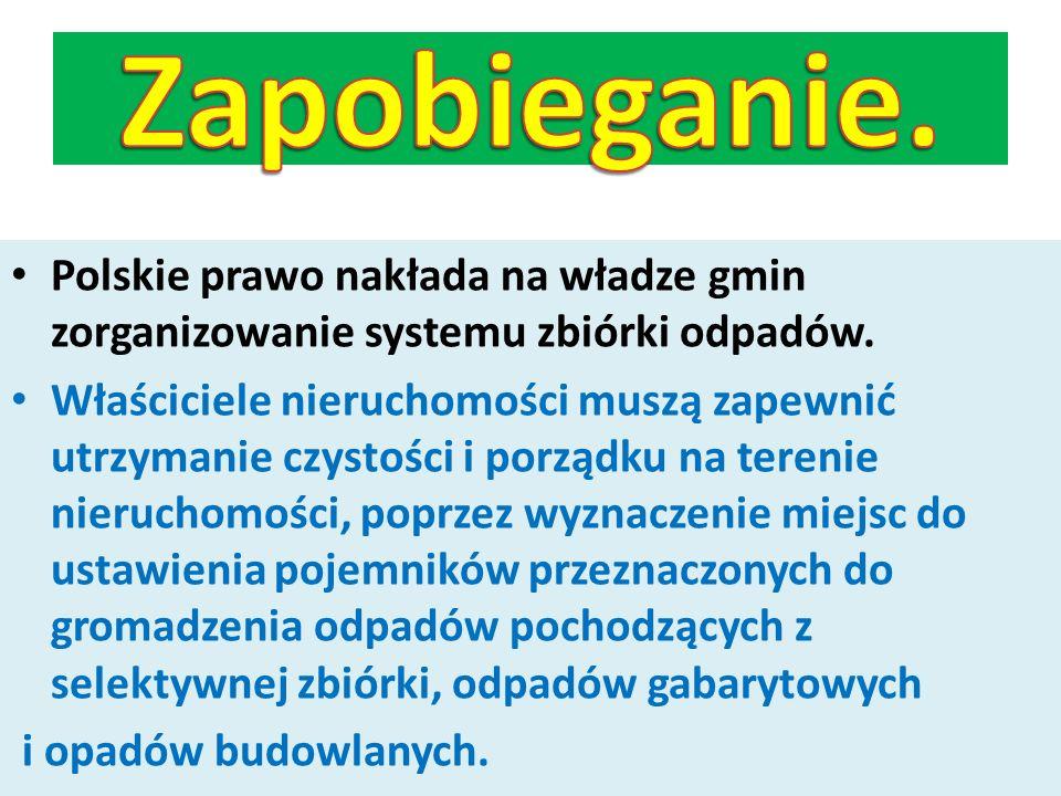 Zapobieganie. Polskie prawo nakłada na władze gmin zorganizowanie systemu zbiórki odpadów.