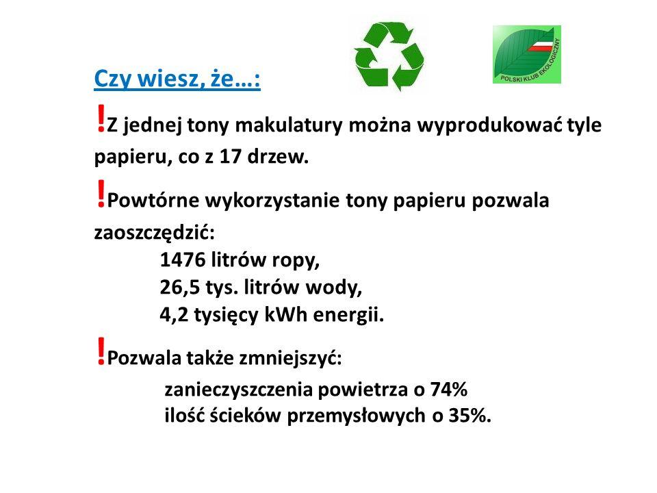 Czy wiesz, że…: !Z jednej tony makulatury można wyprodukować tyle papieru, co z 17 drzew.