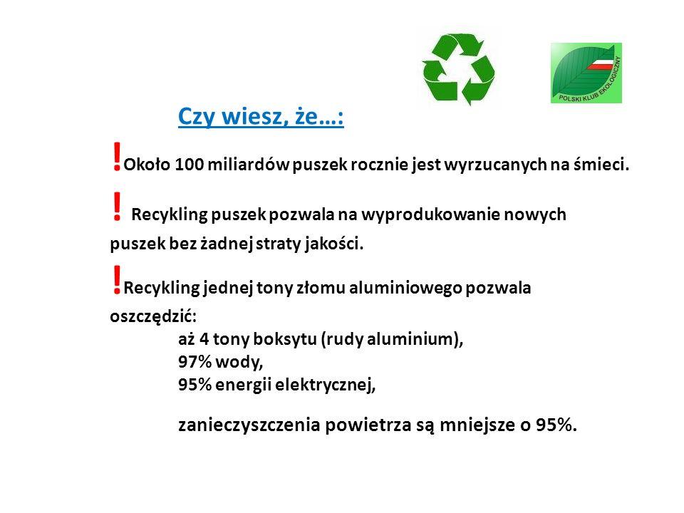 Czy wiesz, że…: !Około 100 miliardów puszek rocznie jest wyrzucanych na śmieci.