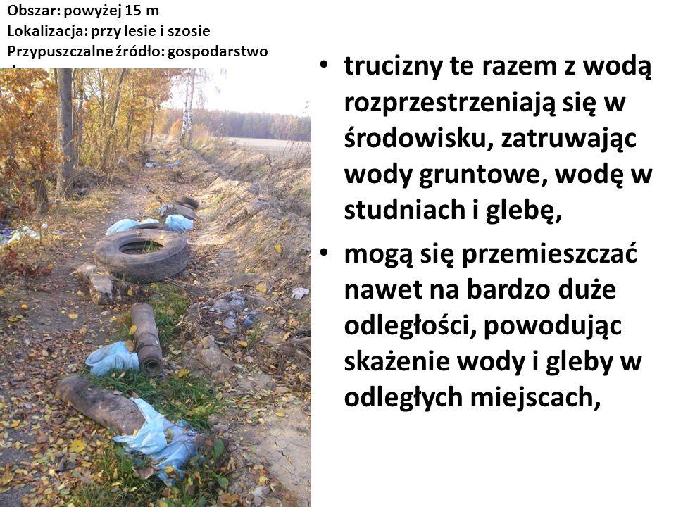 Obszar: powyżej 15 m Lokalizacja: przy lesie i szosie Przypuszczalne źródło: gospodarstwo domowe