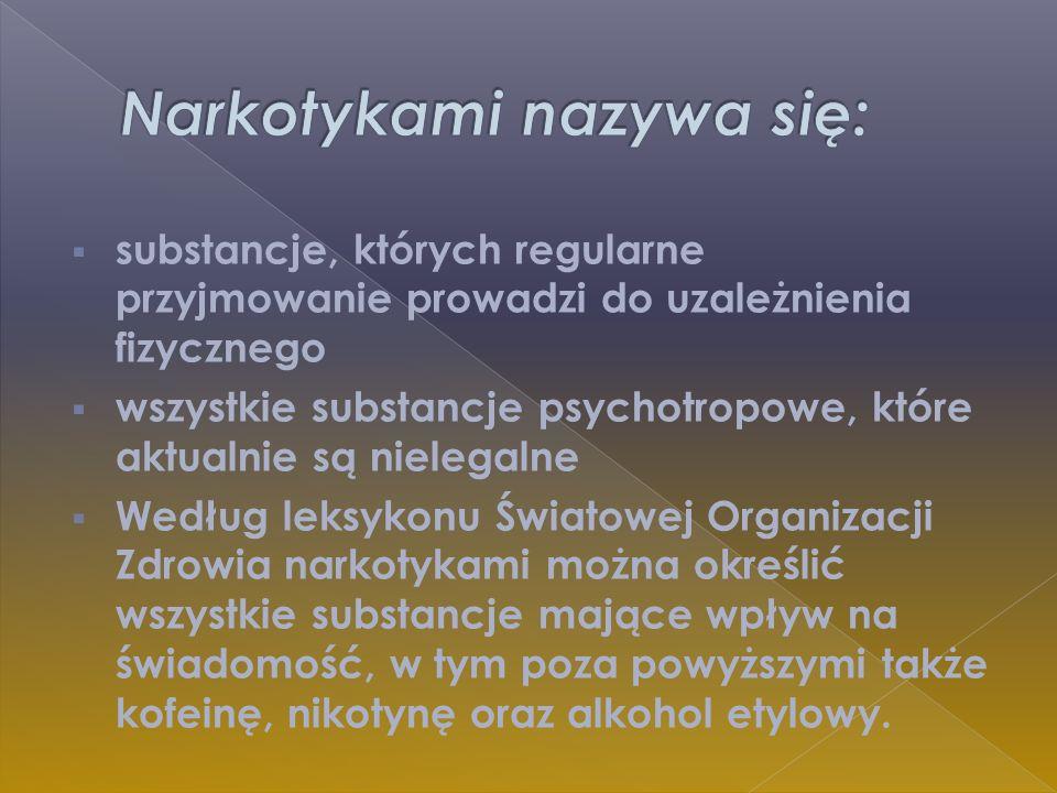 Narkotykami nazywa się: