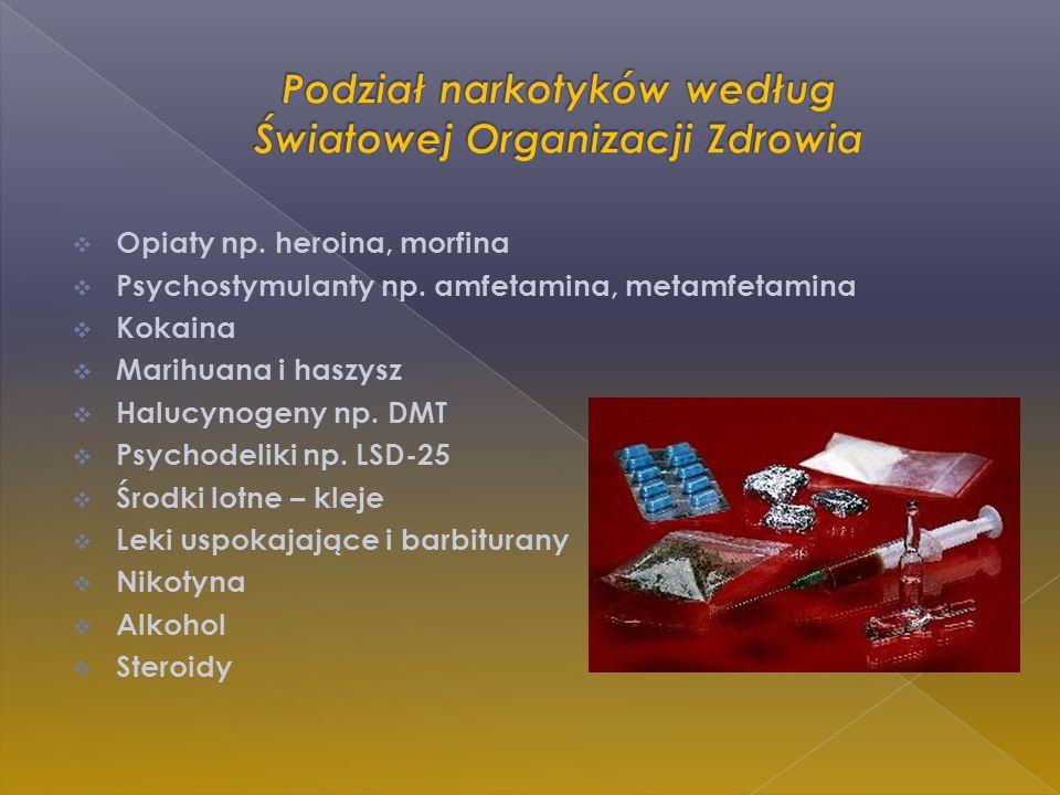 Podział narkotyków według Światowej Organizacji Zdrowia