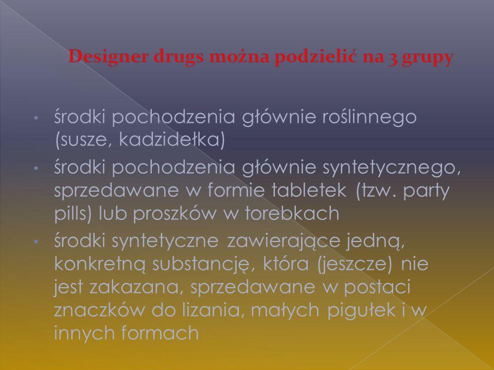 Designer drugs można podzielić na 3 grupy
