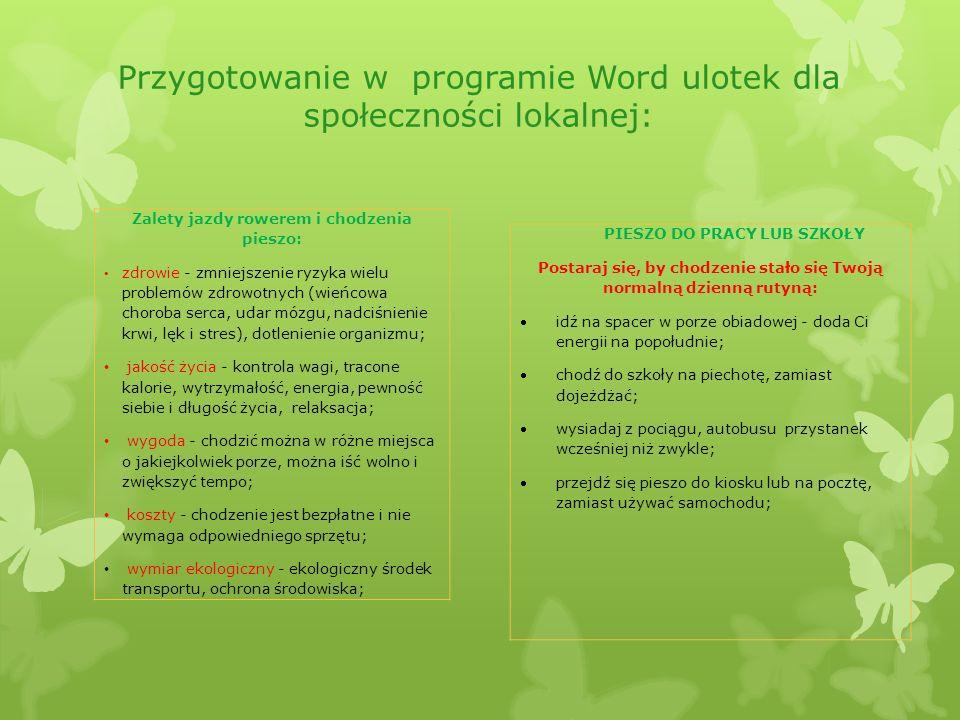 Przygotowanie w programie Word ulotek dla społeczności lokalnej: