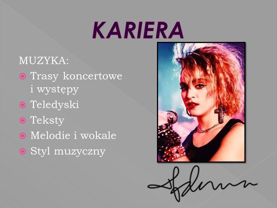 KARIERA MUZYKA: Trasy koncertowe i występy Teledyski Teksty