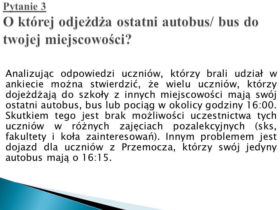 Pytanie 3 O której odjeżdża ostatni autobus/ bus do twojej miejscowości