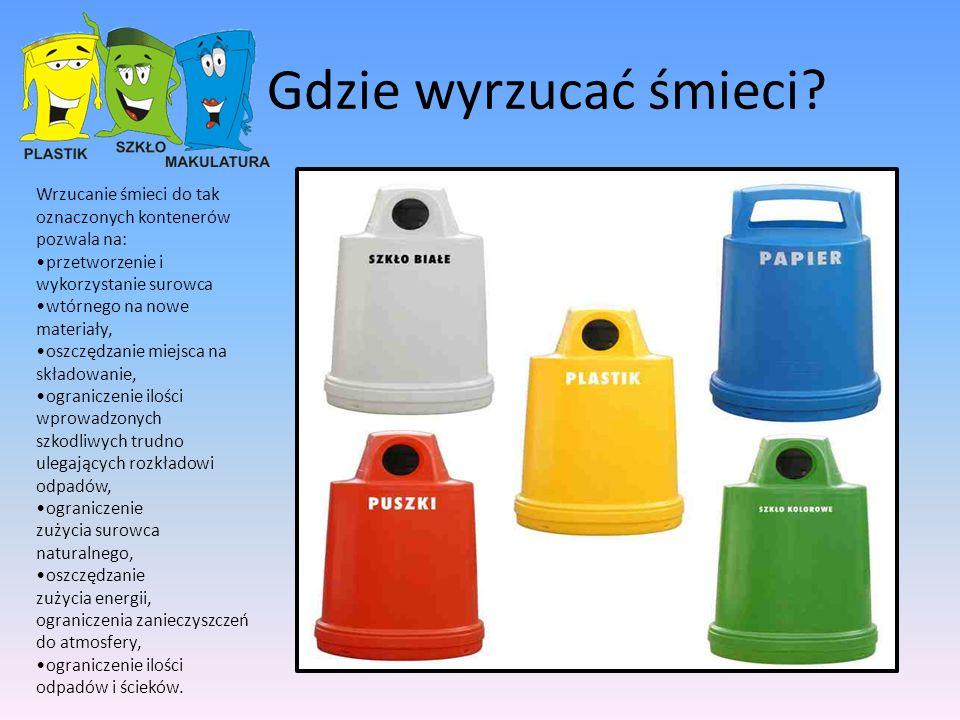 Gdzie wyrzucać śmieci Wrzucanie śmieci do tak oznaczonych kontenerów pozwala na: