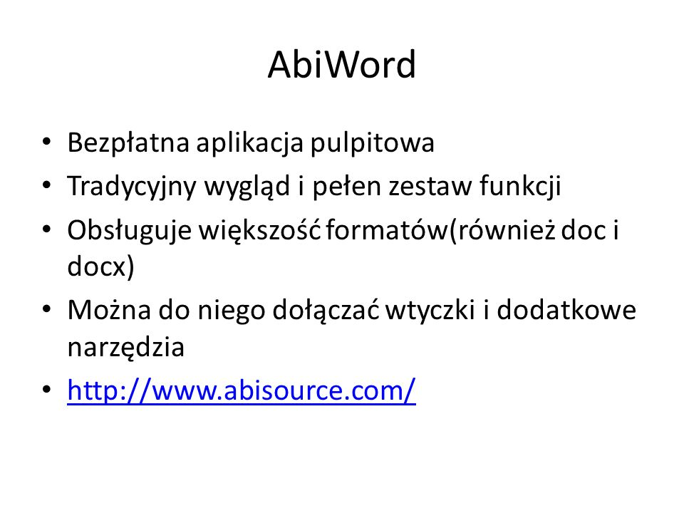 AbiWord Bezpłatna aplikacja pulpitowa