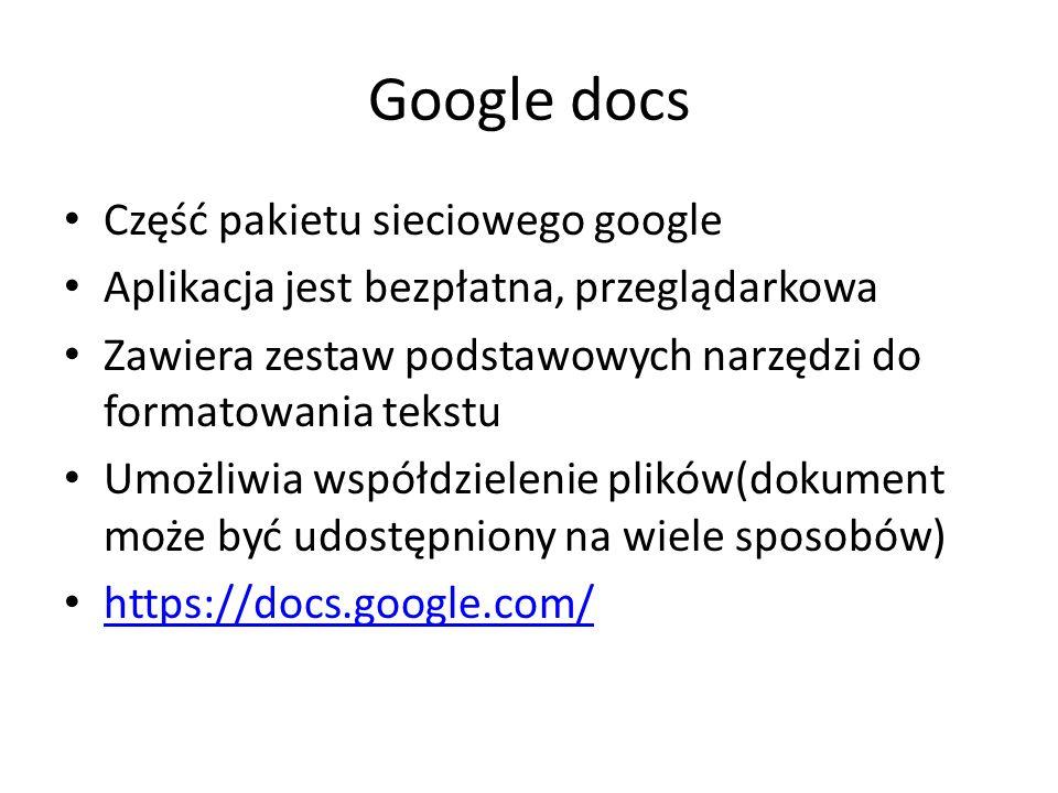 Google docs Część pakietu sieciowego google
