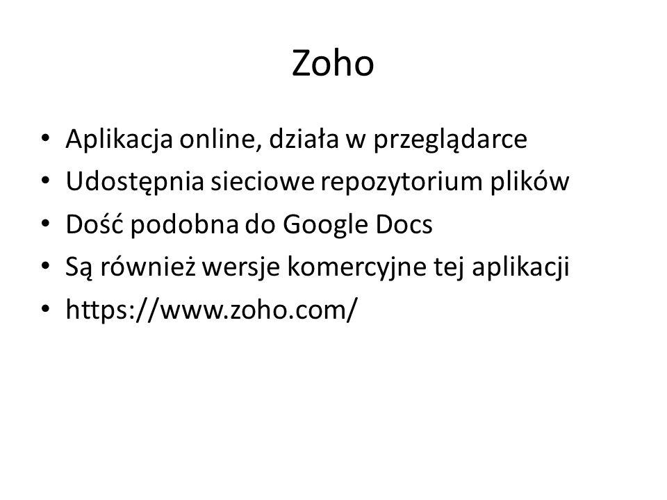 Zoho Aplikacja online, działa w przeglądarce