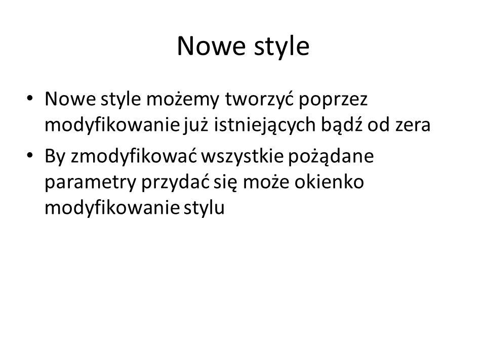 Nowe style Nowe style możemy tworzyć poprzez modyfikowanie już istniejących bądź od zera.