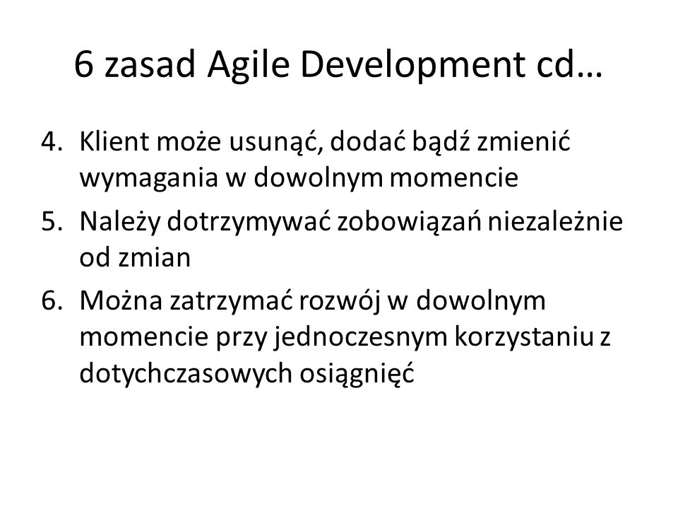 6 zasad Agile Development cd…