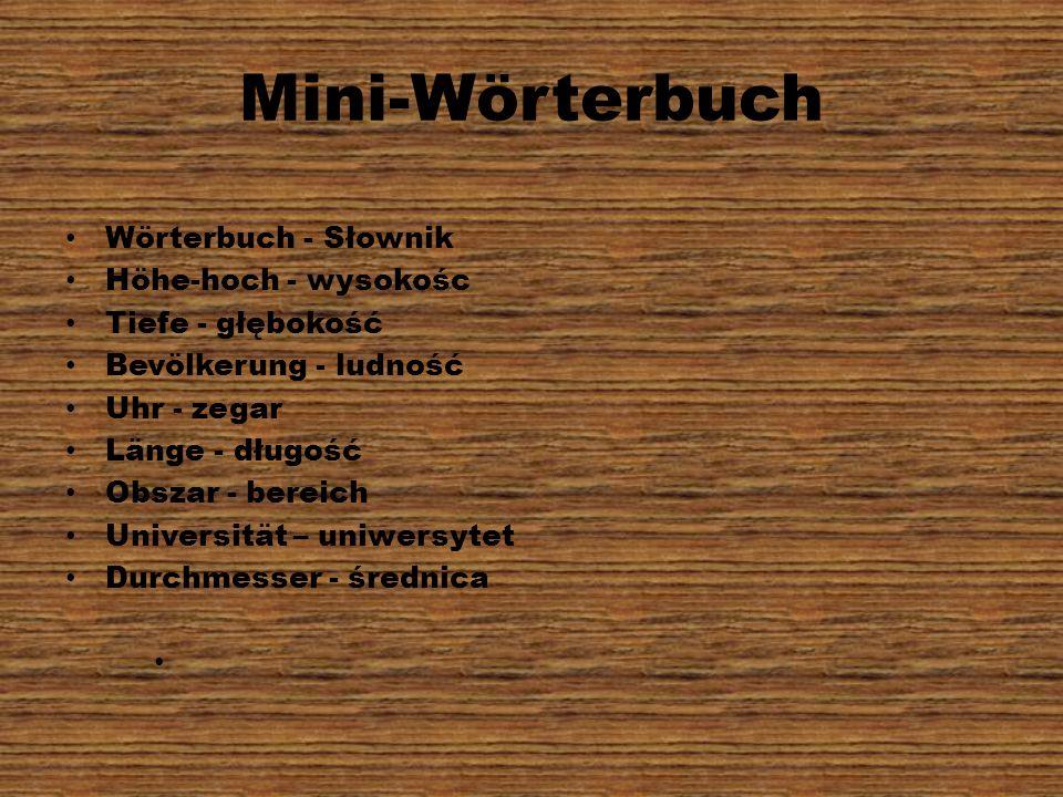 Mini-Wörterbuch Wörterbuch - Słownik Höhe-hoch - wysokośc