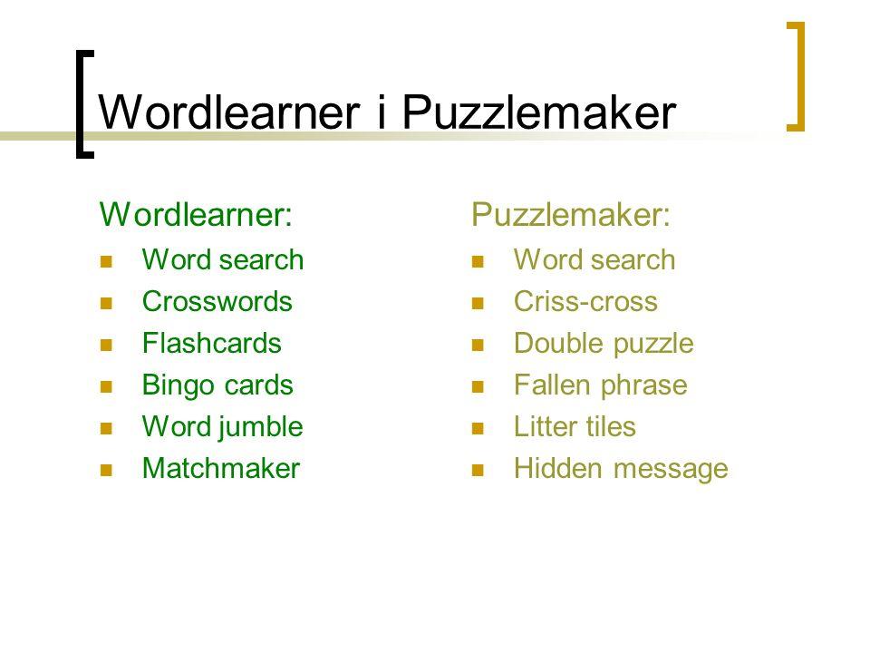 Wordlearner i Puzzlemaker