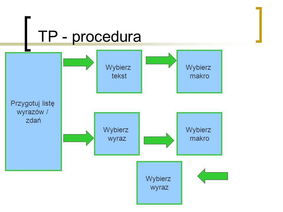 TP - procedura Wybierz tekst Wybierz makro Przygotuj listę wyrazów /