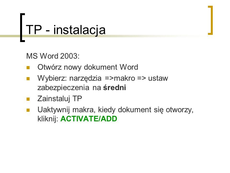 TP - instalacja MS Word 2003: Otwórz nowy dokument Word