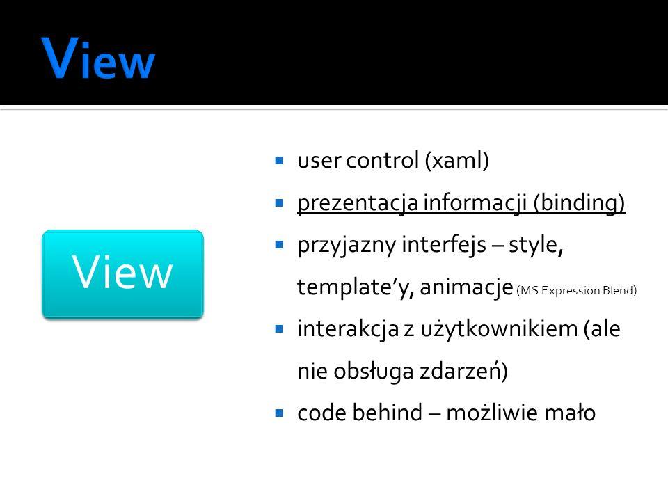 View View user control (xaml) prezentacja informacji (binding)