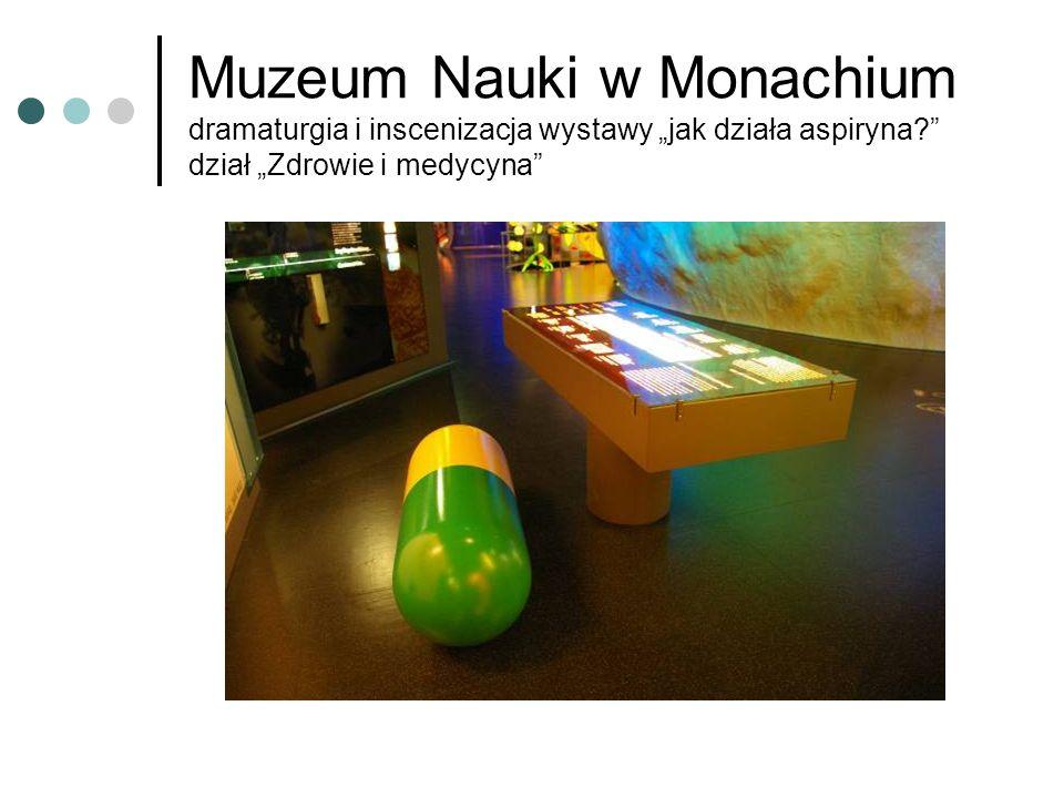 """Muzeum Nauki w Monachium dramaturgia i inscenizacja wystawy """"jak działa aspiryna dział """"Zdrowie i medycyna"""