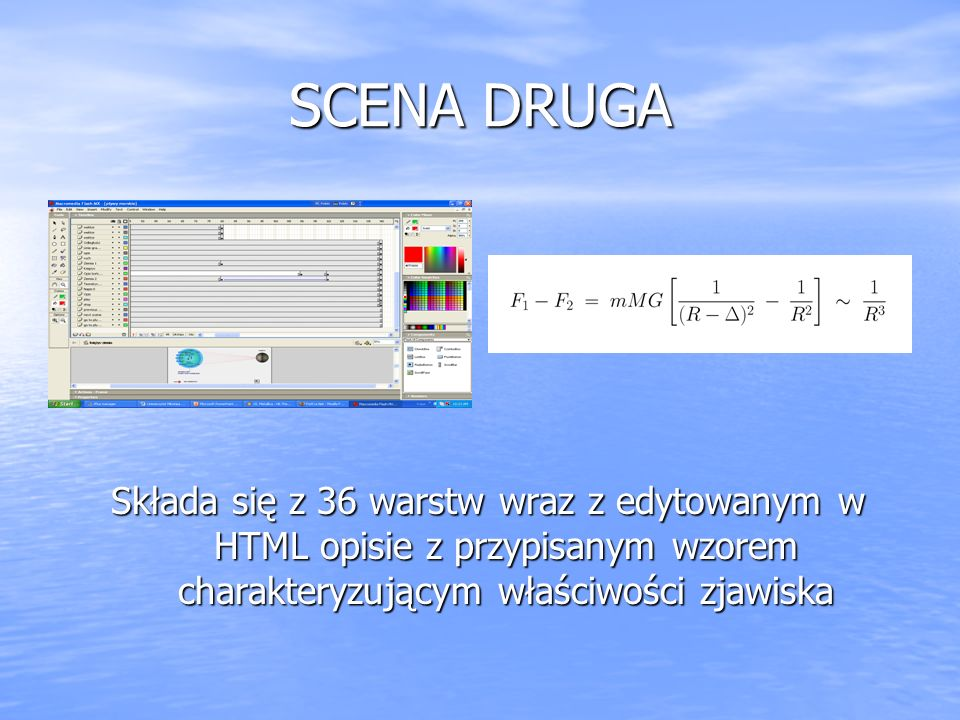 SCENA DRUGA Składa się z 36 warstw wraz z edytowanym w HTML opisie z przypisanym wzorem charakteryzującym właściwości zjawiska.