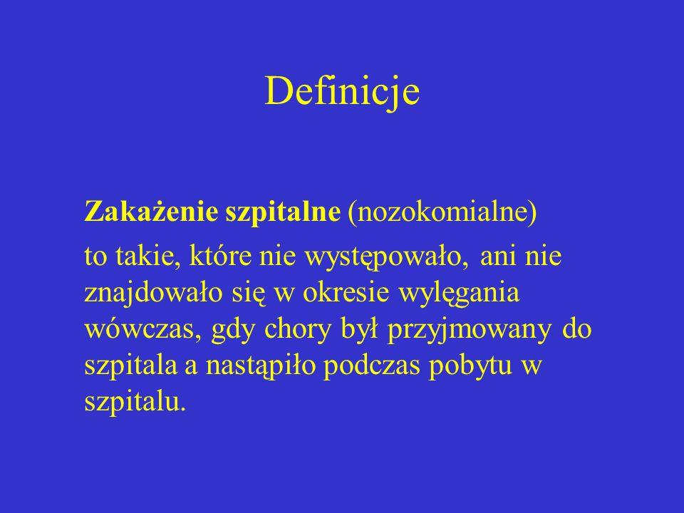 Definicje Zakażenie szpitalne (nozokomialne)