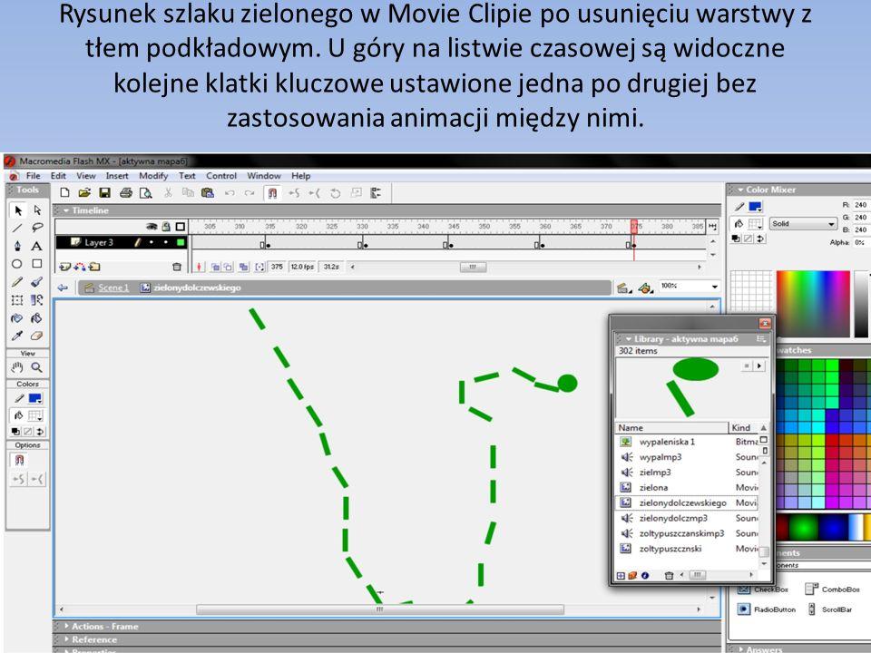 Rysunek szlaku zielonego w Movie Clipie po usunięciu warstwy z tłem podkładowym.