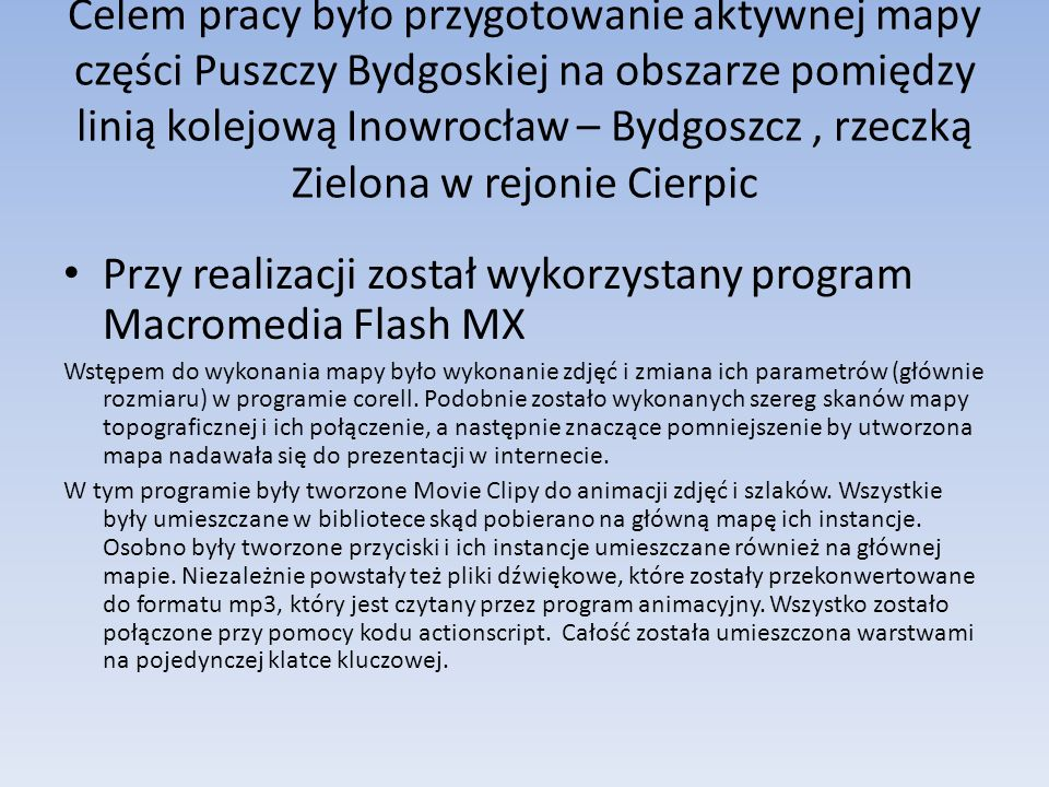Przy realizacji został wykorzystany program Macromedia Flash MX
