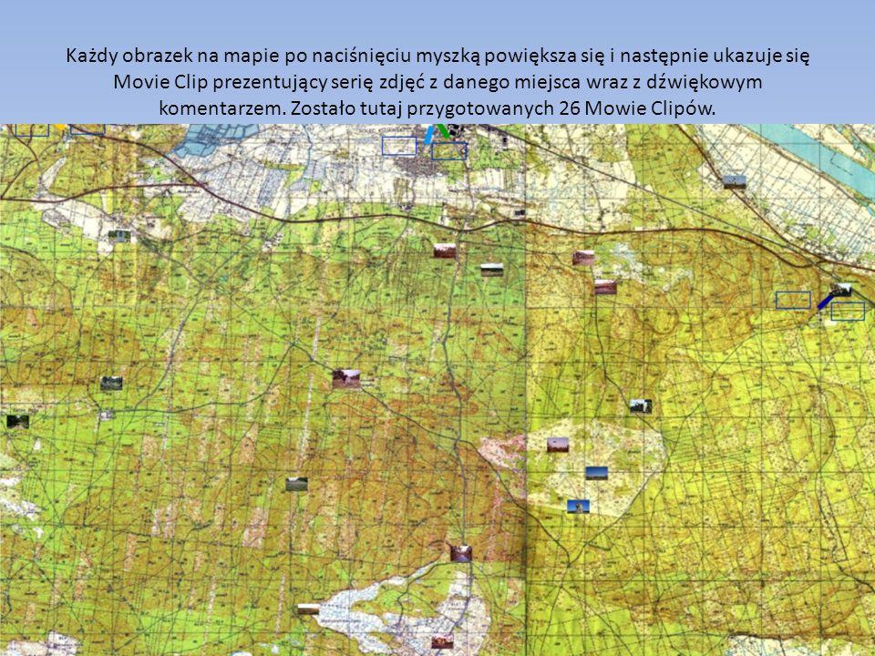Każdy obrazek na mapie po naciśnięciu myszką powiększa się i następnie ukazuje się Movie Clip prezentujący serię zdjęć z danego miejsca wraz z dźwiękowym komentarzem.