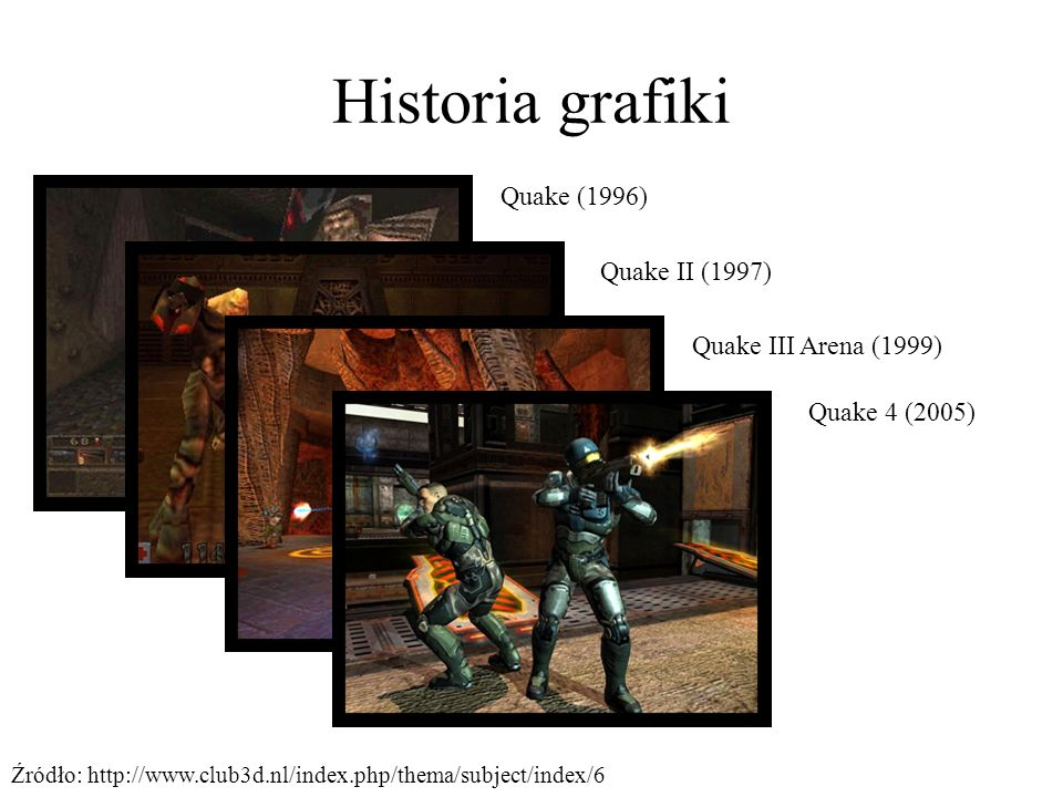 Historia grafiki Quake (1996) Quake II (1997) Quake III Arena (1999)