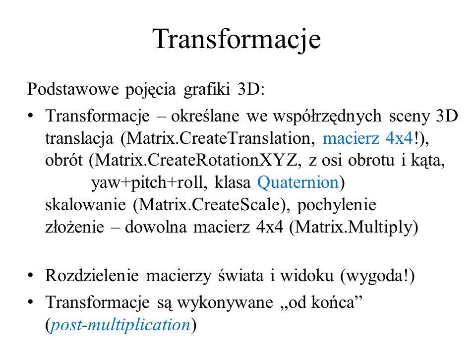Transformacje Podstawowe pojęcia grafiki 3D: