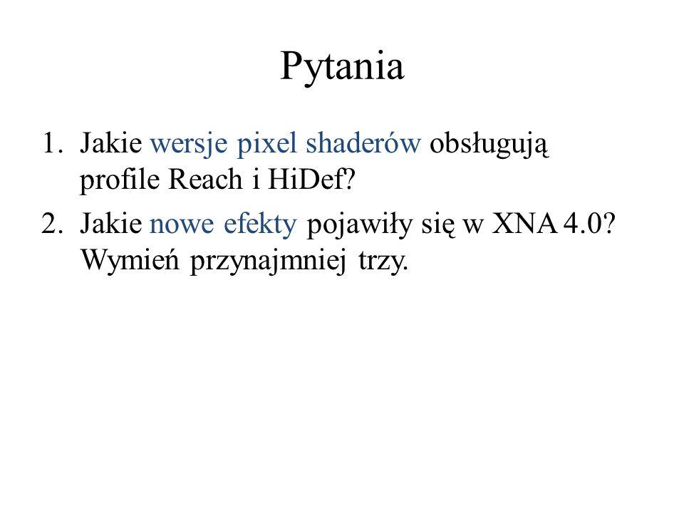 Pytania Jakie wersje pixel shaderów obsługują profile Reach i HiDef