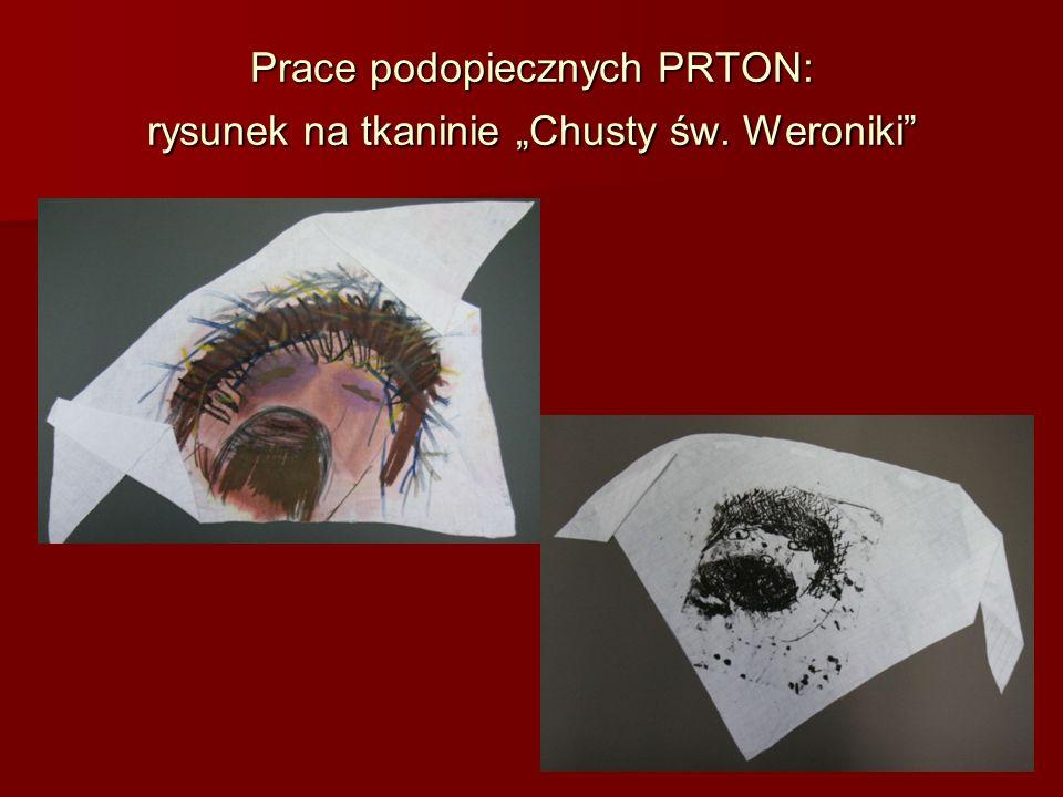 """Prace podopiecznych PRTON: rysunek na tkaninie """"Chusty św. Weroniki"""