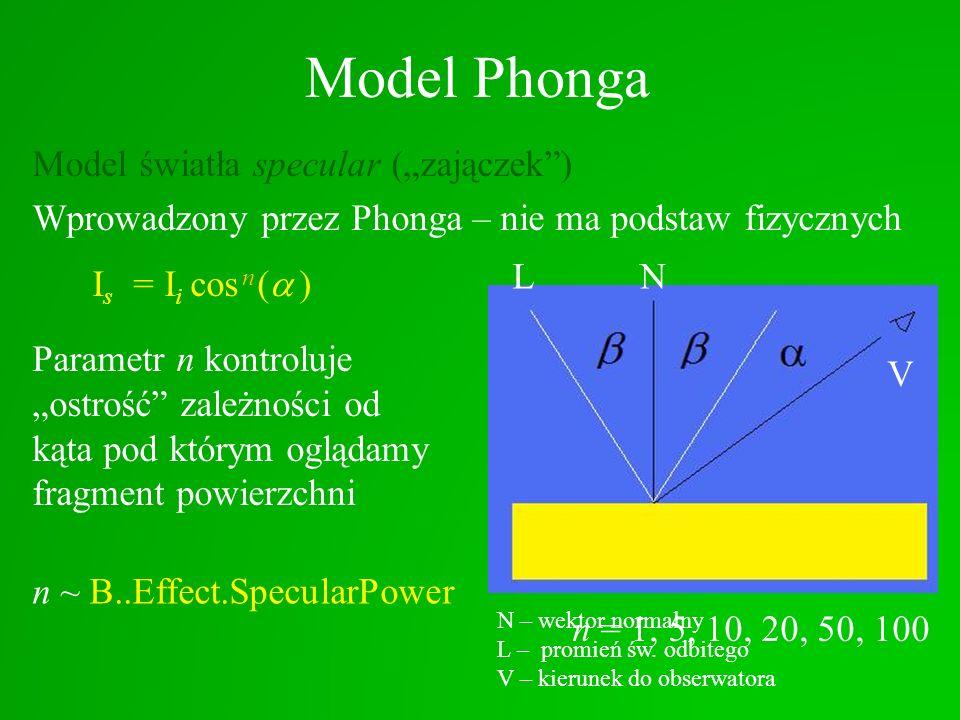 """Model Phonga Model światła specular (""""zajączek ) Wprowadzony przez Phonga – nie ma podstaw fizycznych"""
